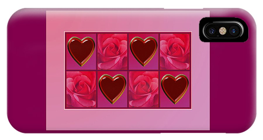 Valentine Card IPhone X Case featuring the digital art Chocolate Hearts And Roses by Melissa A Benson