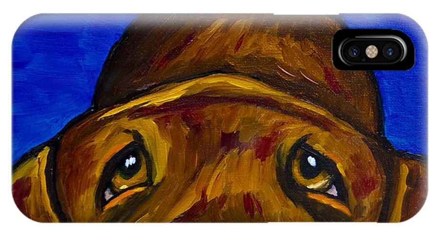 Labrador Retriever IPhone X Case featuring the painting Chocolate Lab Nose by Roger Wedegis