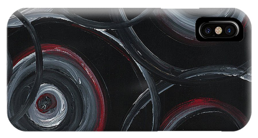 Circles IPhone X Case featuring the painting Choices In Black by Nadine Rippelmeyer