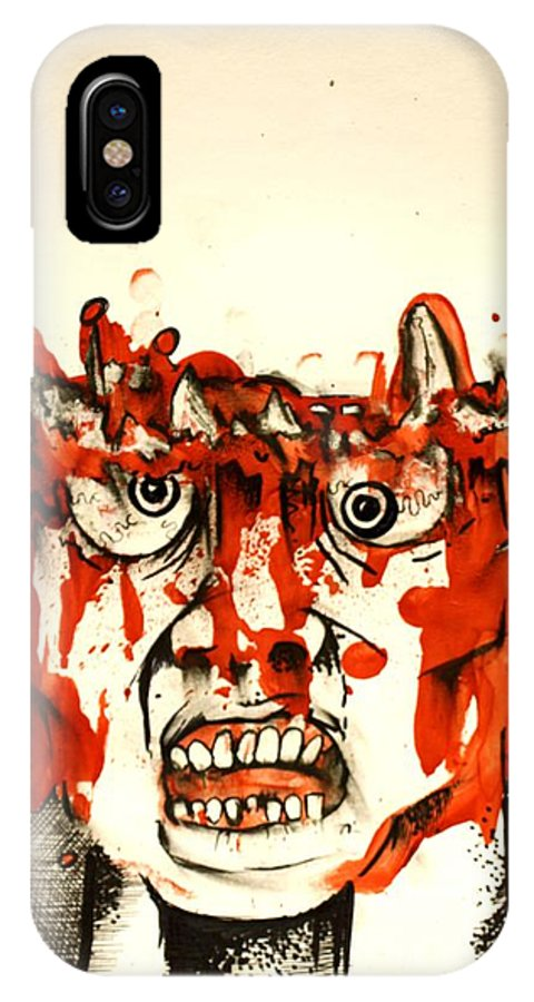 Crazy IPhone X Case featuring the painting Chopped 2 by Sam Hane