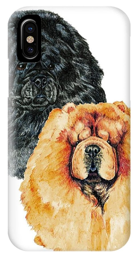 Chow Chow IPhone Case featuring the painting Chow Chows by Kathleen Sepulveda