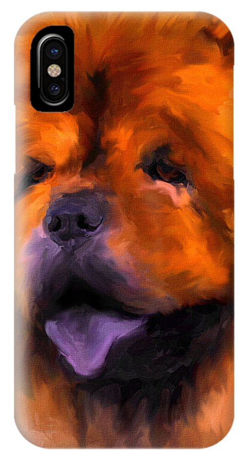 Chow IPhone X Case featuring the painting Chow Portrait by Jai Johnson