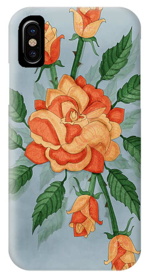 Floral IPhone X Case featuring the painting Christ And The Disciples Roses by Anne Norskog