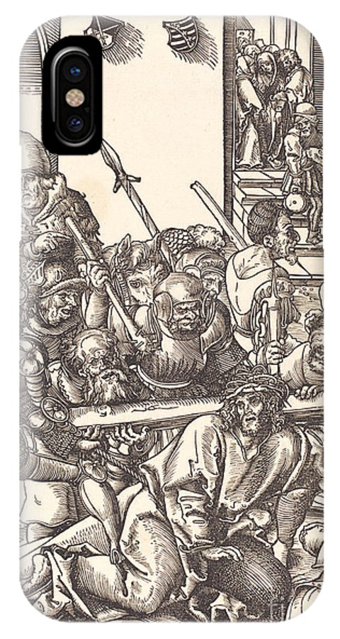 IPhone X Case featuring the drawing Christ Bearing The Cross by Lucas Cranach The Elder