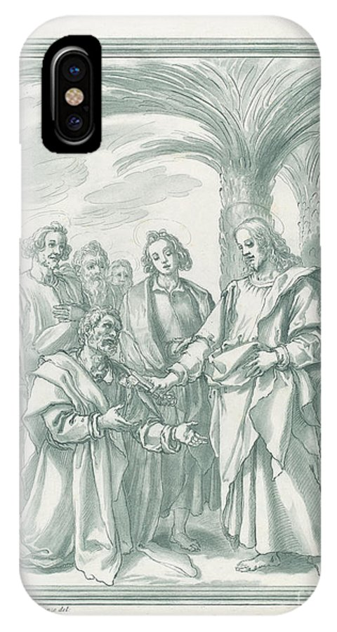 IPhone X Case featuring the drawing Christ Consigning The Keys To Saint Peter by Andrea Scacciati After Jacopo Chimenti