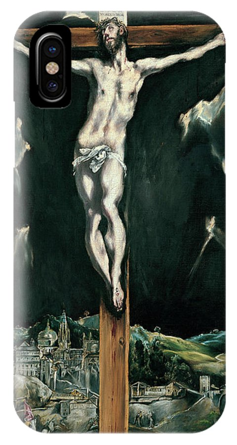 Christ IPhone X Case featuring the painting Christ Crucified With Toledo In The Background by El Greco