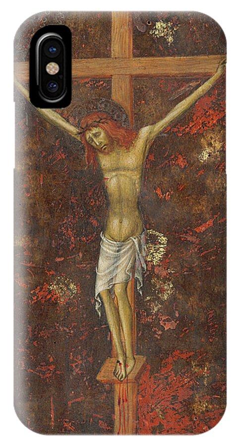 Andrea Di Bartolo IPhone X Case featuring the painting Christ On The Cross by Andrea di Bartolo