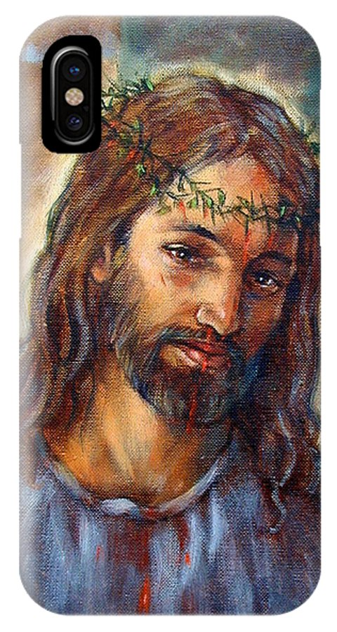 Christ IPhone X Case featuring the painting Christ With Thorns by John Lautermilch