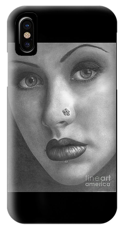 Christina Aguilera IPhone X Case featuring the drawing Christina Aguilera by Karen Townsend