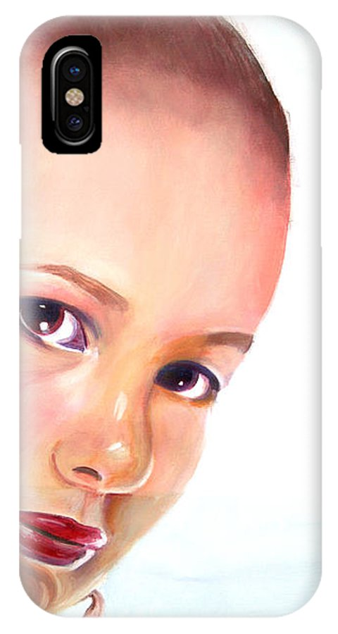 Portrait IPhone X Case featuring the painting Christine by Fiona Jack