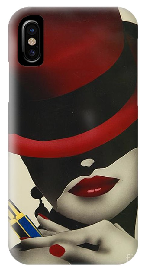 Christion Dior Red Hat Lady IPhone X Case featuring the painting Christion Dior Red Hat Lady by Jacqueline Athmann