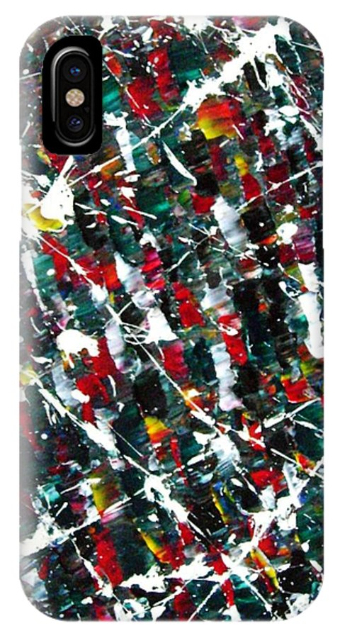 Action IPhone X Case featuring the painting Christmas 1969 by Stephane Trahan
