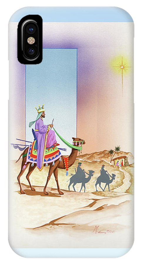 Christmas IPhone X Case featuring the painting Christmas 3 by Laura Greco
