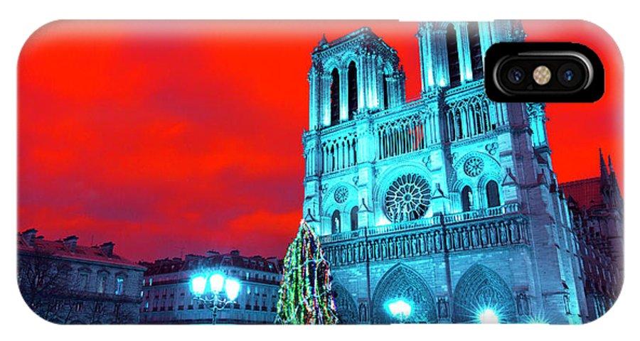 Christmas At Notre Dame Pop Art IPhone X / XS Case featuring the photograph Christmas At Notre Dame Pop Art by John Rizzuto