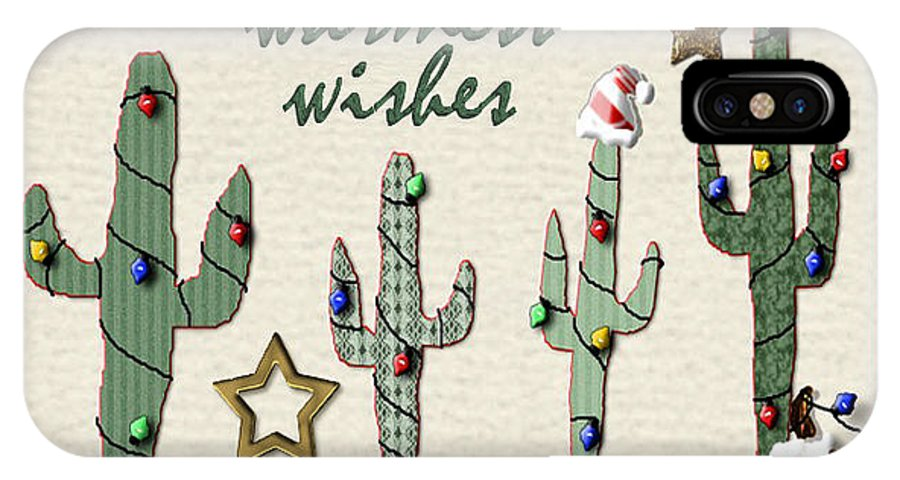 Cactus IPhone X Case featuring the digital art Christmas Cactus by Arline Wagner