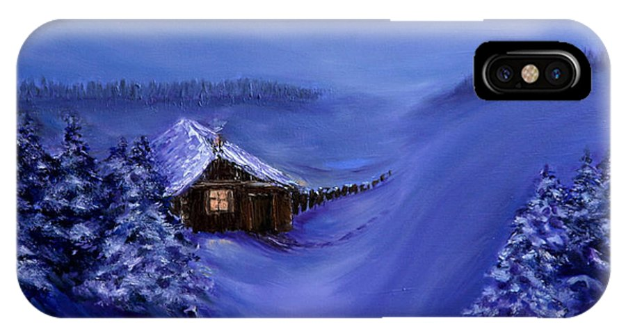 Christmas IPhone X Case featuring the painting Christmas Eve by Nina Nabokova