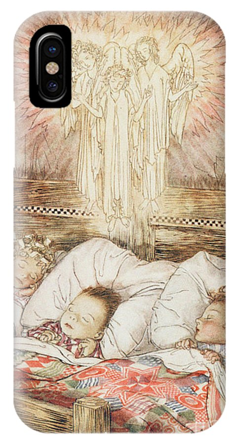 Xmas IPhone X / XS Case featuring the drawing Christmas Illustrations From The Night Before Christmas by Arthur Rackham