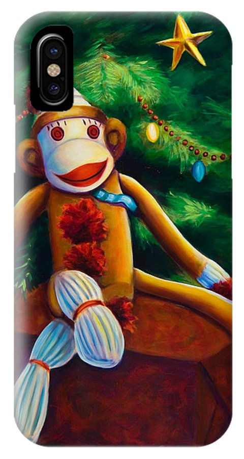 Sock Monkey IPhone X Case featuring the painting Christmas Made Of Sockies by Shannon Grissom