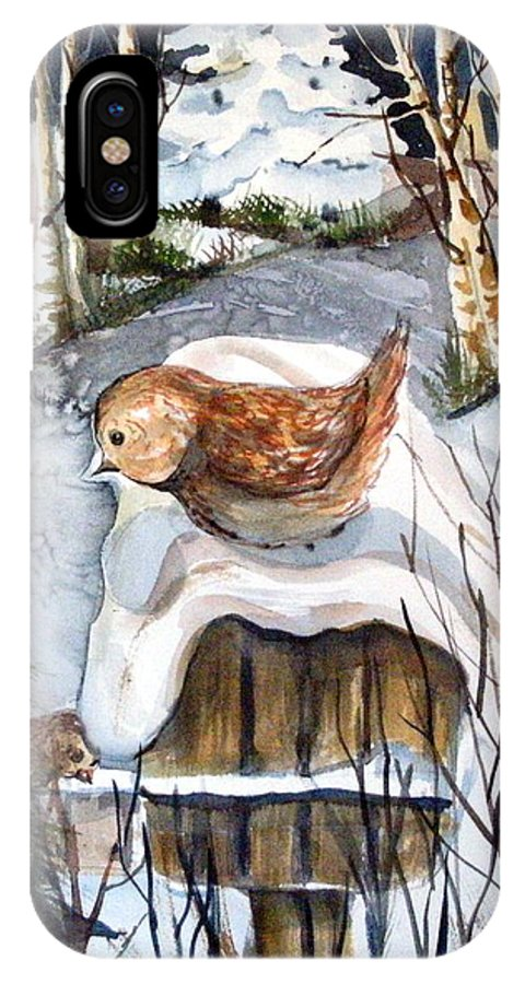 Bird IPhone X Case featuring the painting Christmas Roof by Mindy Newman