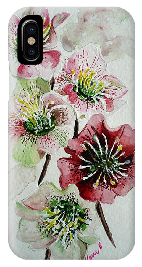 Floral Flower Pink IPhone X Case featuring the painting Christmas Rose by Karin Dawn Kelshall- Best