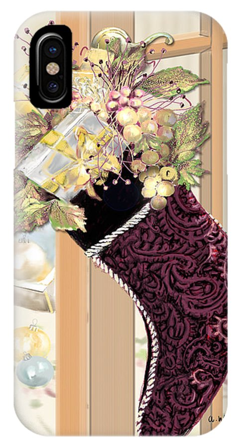 Christmas IPhone X Case featuring the digital art Christmas Stocking by Arline Wagner