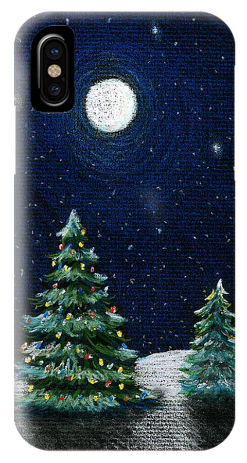 Christmas Trees IPhone Case featuring the drawing Christmas Trees In The Moonlight by Nancy Mueller