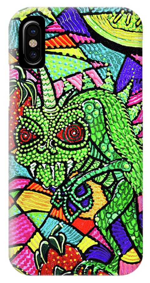 Abstract IPhone X Case featuring the painting Chupacabra Loves Strawberry Melon by Laura Barbosa