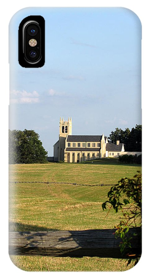 Church IPhone X Case featuring the photograph Church Across The Field by George Jones