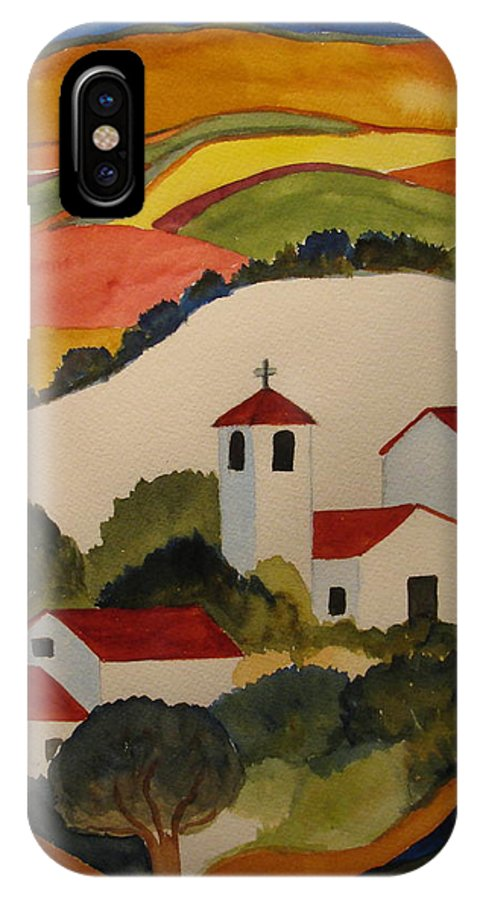 IPhone X Case featuring the painting Church by Donna Steward