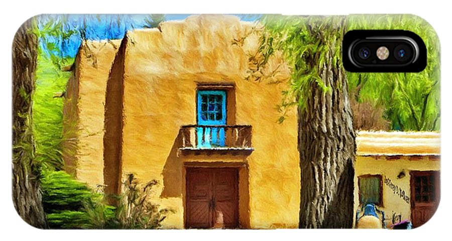 Chapel IPhone X Case featuring the painting Church With Blue Door by Jeffrey Kolker