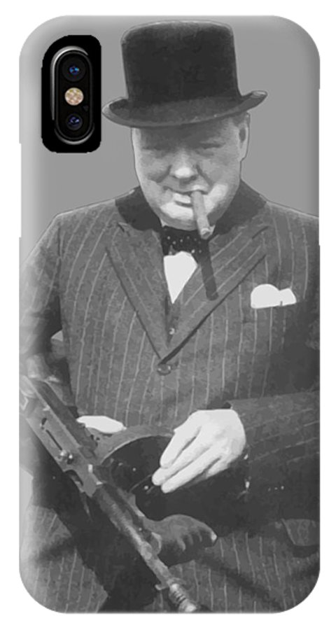 Winston Churchill IPhone X Case featuring the painting Churchill Posing With A Tommy Gun by War Is Hell Store