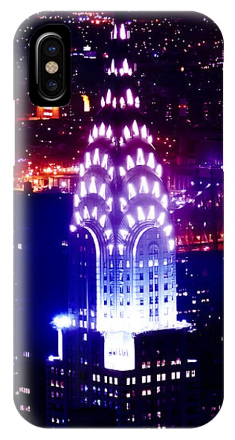 New York City IPhone X Case featuring the photograph Chyrsler Lights by Az Jackson