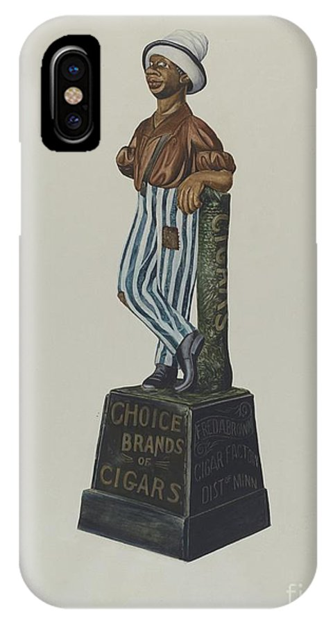 IPhone X Case featuring the drawing Cigar Store Figure by Einar Heiberg