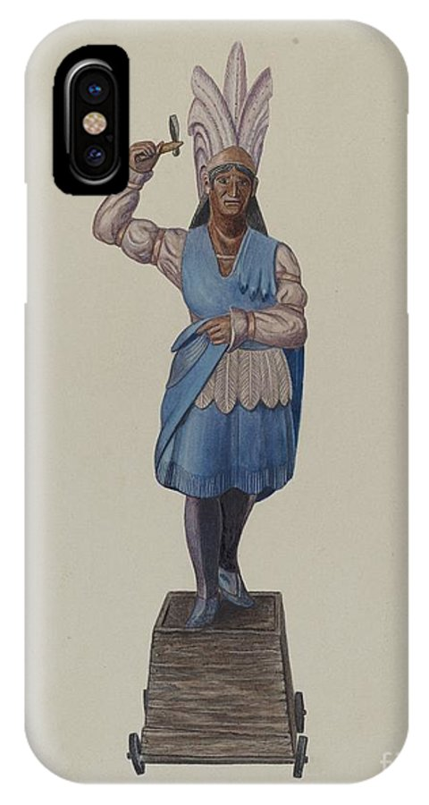 IPhone X Case featuring the drawing Cigar Store Indian by Sydney Roberts
