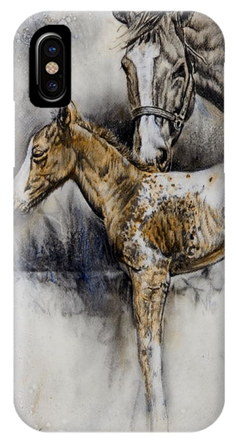 Horse Painting IPhone X Case featuring the painting Cindy's Pride by Virgil Stephens