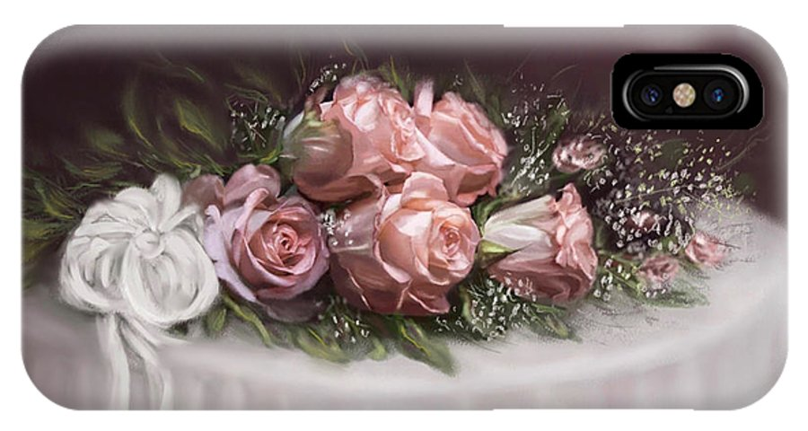 Roses IPhone X / XS Case featuring the painting Spray Of Roses by Bonnie Willis
