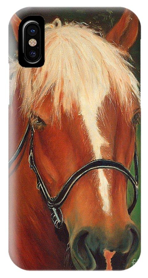 Euqestrian Art IPhone Case featuring the painting Cinnamon The Horse by Enzie Shahmiri
