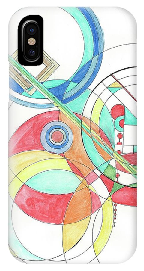 IPhone X Case featuring the drawing Circle Game by Kelly Pratt
