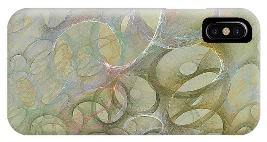 Fractal IPhone X Case featuring the digital art Circles In Circles by Deborah Benoit