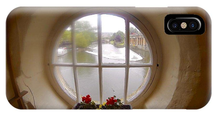 Round Window IPhone X Case featuring the photograph Circular Window by Steve Swindells