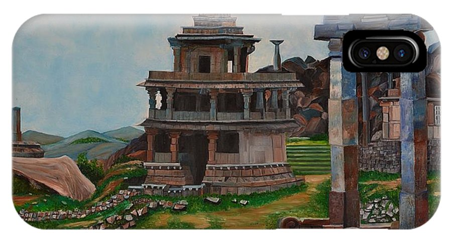 Landscape IPhone X Case featuring the painting Cithradurga Fort by Usha Rai