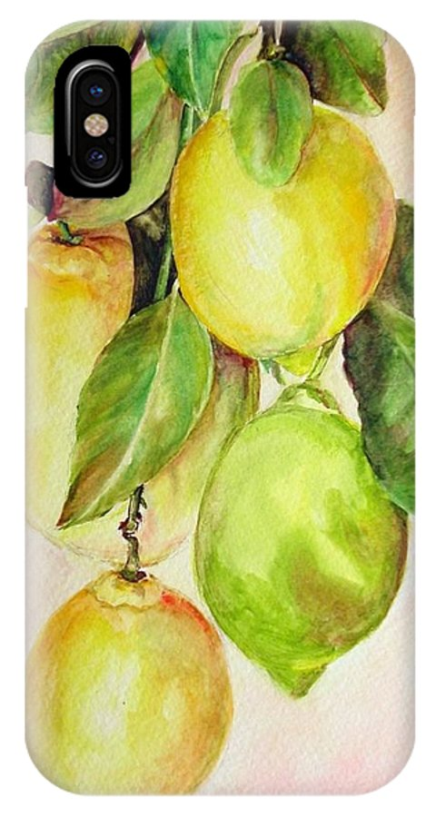 Still Life IPhone X Case featuring the painting Citrons by Muriel Dolemieux