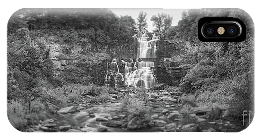 Chittenango Falls IPhone X Case featuring the photograph Cittenango Falls Tilt Shift Panorama Bw by Michael Ver Sprill