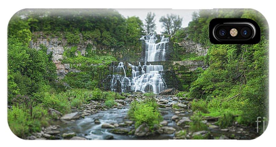 Chittenango Falls IPhone X Case featuring the photograph Cittenango Falls Tilt Shift Panorama by Michael Ver Sprill