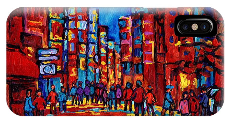 Montreal IPhone X Case featuring the painting City After The Rain by Carole Spandau