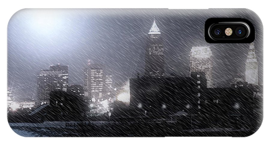 Cleveland IPhone Case featuring the photograph City Bathed In Winter by Kenneth Krolikowski