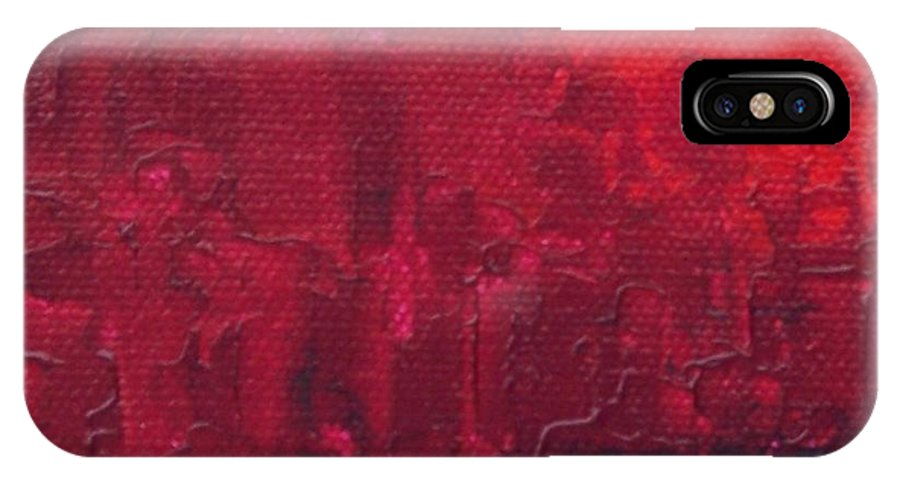 Red IPhone X Case featuring the painting City by Emily Young