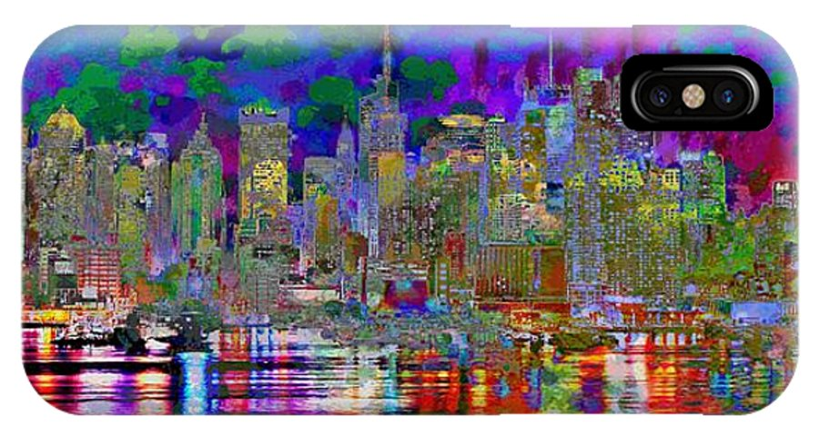 Landscape IPhone X Case featuring the digital art City Garden Art Landscape by Mary Clanahan