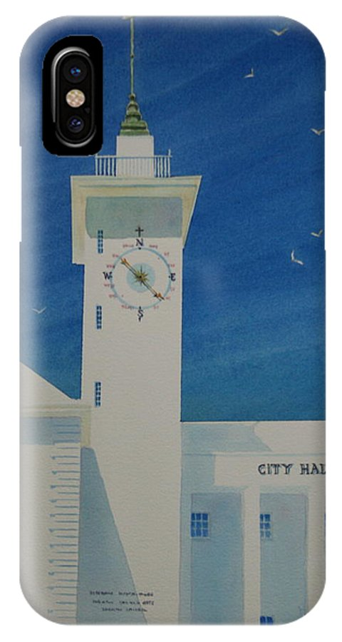 Bermuda IPhone X Case featuring the painting City Hall And Arts Building Bermuda by Tom Harris
