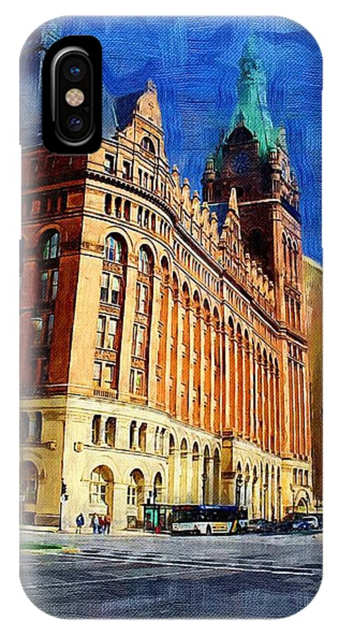 Architecture IPhone X Case featuring the digital art City Hall And Lamp Post by Anita Burgermeister
